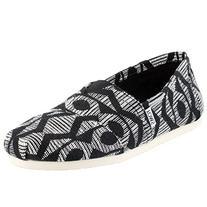 Toms Mens Classics Black/White Cultural Woven Shoes size 8 D