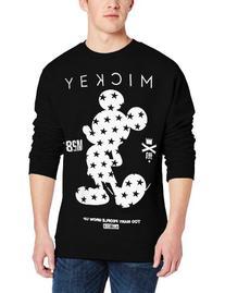 neff Men's Clean Mickey Crew Athletic Sweatshirt, Black,
