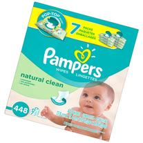 Pampers Natural Clean Baby Wipes, 448 sheets