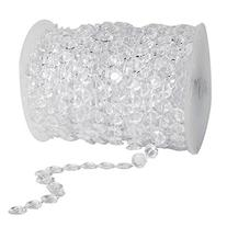 HOODDEAL 99 ft Clear Crystal Like Beads by the roll Wedding