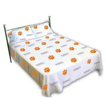College Covers Clemson Tigers Printed Sheet Set, Twin, White