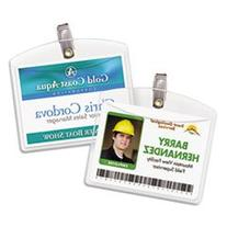 -- Clip-Style Badge Holders, Horizontal, 4w x 3h, Clear, 100