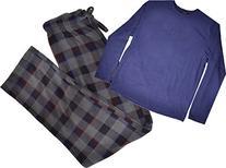 Club Room Mens Pajama Set, 2-piece Fleece Grey Plaid Blue