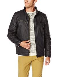 Vince Camuto Men's Quilted Down Moto Jacket Reversible To