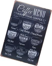 Coffee Menu Know Your Coffee, Metal Tin Sign, Wall