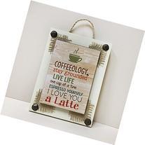 "COFFEE Reclaimed ""Coffeeology"" Sign 6X8 White Cream Espresso"