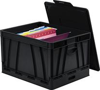 Storex Collapsible Crate with Lid, 17.25 x 14.25 x 10.5