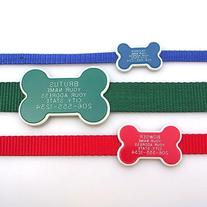 Collar Tag - Bone Shape Pet ID Tag. Our custom engraved dog