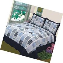 Fancy Collection 3pc Bedspread Bed Cover White Navy Squares