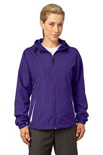 Sport-Tek Ladies Colorblock Hooded Jacket, True Red/White, S