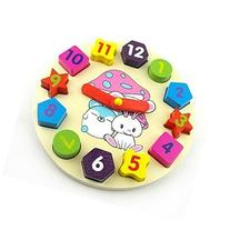 Colorful cartoon digital geometry clock wooden toy