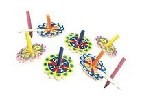 Colorful Flower Shaped Wooden Hanukkah Dreidel Pack of 25