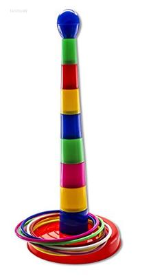 WolVol 18 inch Brightly Colorful Quoits Ring Toss Game Set