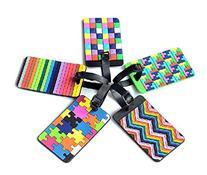 Adecco LLC 5pcs Colorful Tetris Pattern Rubber ID Tags