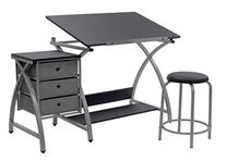 Excellent Studio Designs Comet Center With Stool Silver Black 13325 Bralicious Painted Fabric Chair Ideas Braliciousco