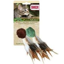 Kong Company Natural Crinkle Ball W Feathers Cat Toy