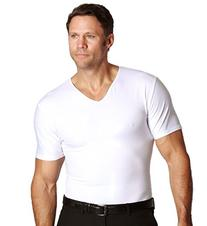Insta Slim Compression V-Neck T-Shirt, White, Large,