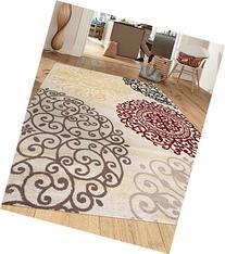Rugshop Contemporary Modern Floral Indoor Soft Area Rug, 5'3