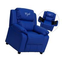 Contemporary Kid's Vinyl Recliner with Storage Arms