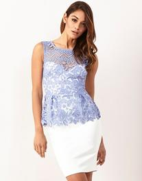 Lipsy Contrast Lace Peplum Dress