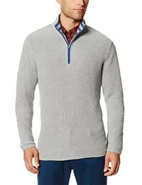 Alex Stevens Men's Contrast Trim Quarter Zip, Light Heather