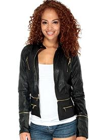 Simplicity Chic Leather Style Jacket W/ Long Removable