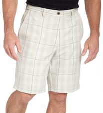 Haggar Men's Cool 18 Yarn Dye Plaid Plain Front Short,Putty,