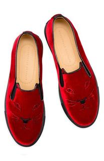Women's Charlotte Olympia Cool Cats Slip-On Sneaker, Size 34