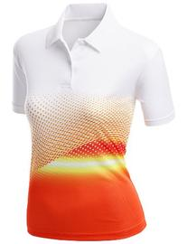 Womens Cool Max Fabric Sporty Design Printed Polo T-Shirt