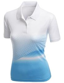 Womens Cool Max Fabric Sporty Design Printed Polo Tops BLUE