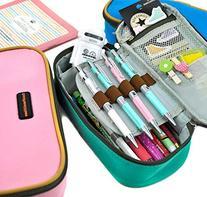 LORJE Big Capacity Multifunction Canvas Pencil Case Bag