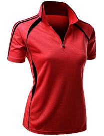Womens Coolmax 2 Tone Collar Zipup Short sleeve Polo T Shirt