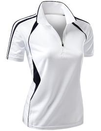 Womens Coolmax Sporty Fill Zipup Short sleeve Polo T-Shirt
