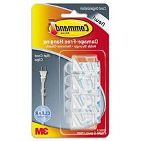 Command Cord Clip, Flat, W/Adhesive, Clear, 4/Pack, Case of