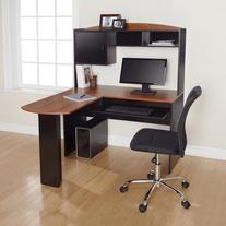 Corner L Shaped Office Desk with Hutch, Black and Alder