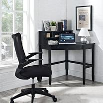 Corner Laptop Writing Desk - Black
