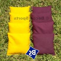 Cornhole Bags Set - 4 Yellow & 4 Burgundy