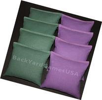 Cornhole Bean Bags Hunter Green & Purple 8 Aca Regulation