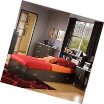 South Shore Cosmos Twin Mates Bed and Headboard, Charcoal