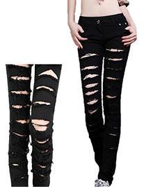 Women's Black Cotten Denim Punk Ripped Jeans Sexy Slim Cut