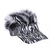 Flair Hair Mens Zebra Face with Black White Hair Visor One