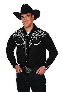 Mens Cotton Blend Retro Leaf Embroidery Western Shirt-Black-