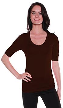 Emmalise Women's Cotton Blend V Neck Tee Shirt Half Sleeves