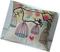 Decorbox Cotton Linen Square Decorative Throw Pillow Case