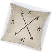 "18"" X 18"" Cotton Linen Square Throw Pillow Case Compass"