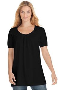 Woman Within Women's Plus Size Knit The Cotton U-Neck Tunic