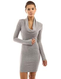 PattyBoutik Women's Cowl Neck Long Sleeve Knit Dress