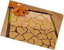 Natural Crack Pattern Kids Room Area Rug  Green,Brown,Sand