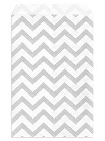 My Craft Supplies 4 X 6 Silver Gray Chevron Paper Bags Set