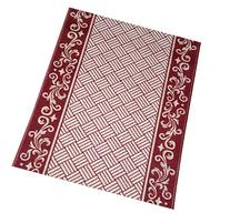 Cranberry Scroll Border Washable  Non-Skid Carpet Rug Runner